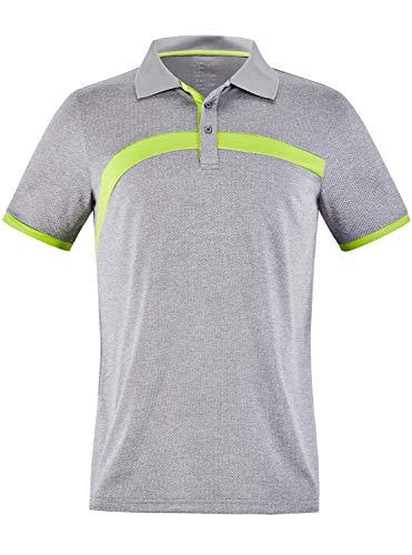 GEEK LIGHTING Men's Polo Shirt Quick-Dry High Moisture Wicking Short Sleeve Sports Golf Tennis T-Shirt (LightGray,L)