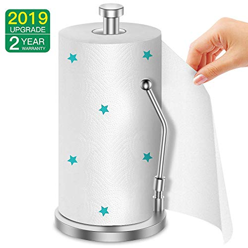AmazeFan Paper Towel Holder Vertical Design With Spring, Food Grade 304 Stainless Steel, Drawing process, One-Handed Operation, Multi-Functional Paper Towels, Fresh Bags and More, 2 Year Full-Refund