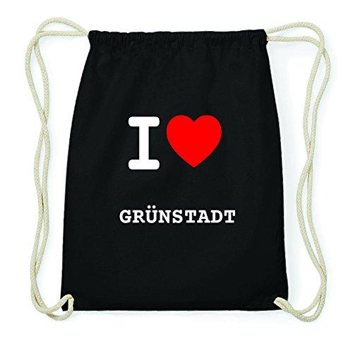 JOllify GRÜNSTADT Hipster Turnbeutel Tasche Rucksack aus Baumwolle - Farbe: schwarz Design: I love- Ich liebe