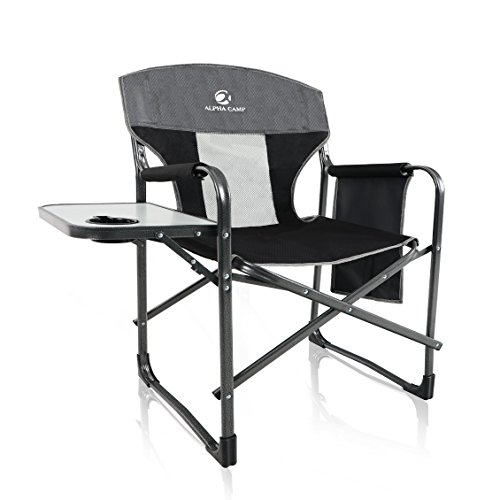 Steel Wide Folding Table - ALPHA CAMP Oversized Director's Chair with Mesh High Back and Side Table, Supports 300 lbs - Grey/Black