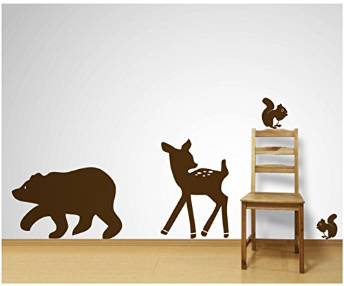 Bear, Deer and Squirrels Wall Decals Sticker Nursery Decor Art Mural! (matte brown)