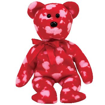 Ty Beanie Babies Cupid's Bow - Bear (Borders - Border Bow