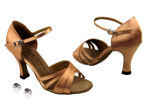 Très Bien Dames Femmes Chaussures De Danse De Salon Ek6030 Avec 3 Talon Marron Satin