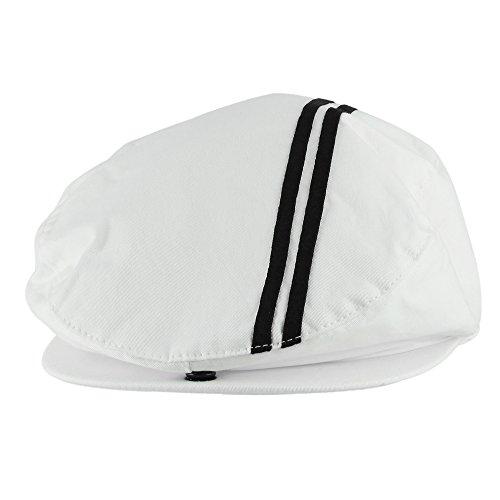 Morehats Men's Women's Unisex 100% Cotton Sweat Proof Mesh Lined Double Striped Newsboy Cap Gatsby Hat - White (Mesh Double Cap White)