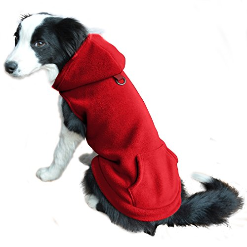 EXPAWLORER Fleece Dog Hoodies with Pocket, Cold Weather Spring Vest Sweatshirt with O-Ring, Red M