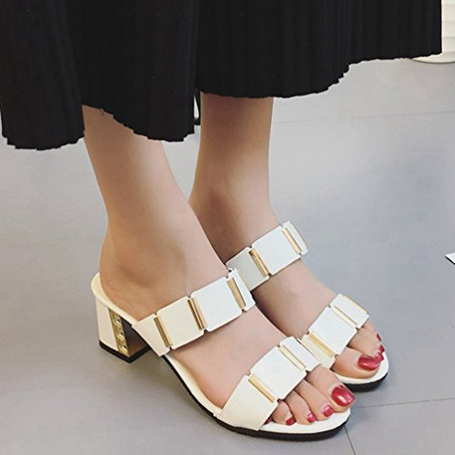 Ouvert Chaussures Talons à Plateforme Sandales à Chaussures Hauts pour Blanc Sandales Bout à à JITIAN à Glissière Femmes Talons gwq7IPx