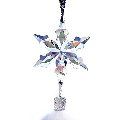 Hexagona Snowflake Crystal Pendant Rear View Mirror Decoration with Creative Imitation Wool Car Interior Trim ()
