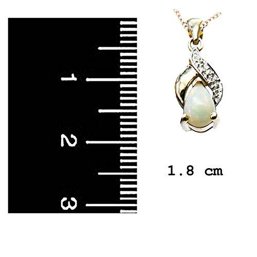 Jewellery World Bague en or jaune 9carats Opale véritable et pendentif goutte de diamant 9ct avec chaîne-Pierre porte-bonheur Octobre