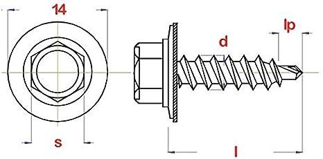 100, kupferbraun - RAL 8004 Trapezblechschrauben 4,8 x 20 mm selbstbohrend mit Dichtscheibe verschiedene Farben