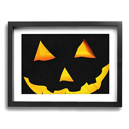 Wall Art with Frame Oil Painting Picture Scary Face Carved Halloween Pumpkin Framed Art Wall Decor Home Wall Art for Living Room Famous Painting Reproduction Ready to Hang-12 X 16in