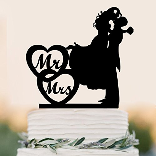 Mr And Mrs Cake Topper Wedding Rustic Anniverary Family Bride Groom Kissing Love Couple Party