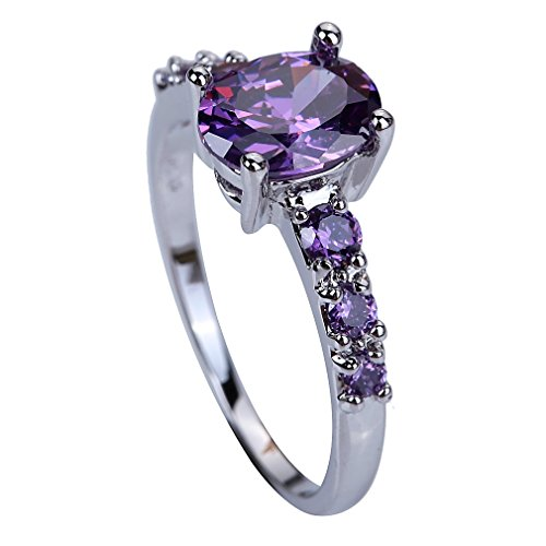 YAZILIND Wedding Bridal Purple Cubic Zirconia Engagement Ring For Women Size7