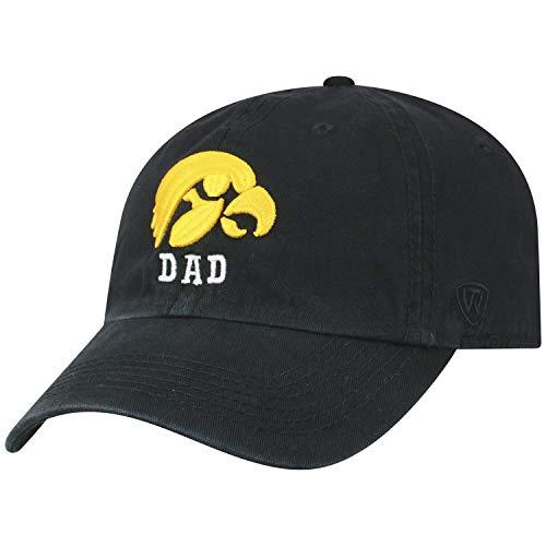 Top of the World NCAA-Dad-Cotton Crew-Adult Adjustable Strapback-Hat Cap (Iowa Hawkeyes-Black, Adjustable) ()
