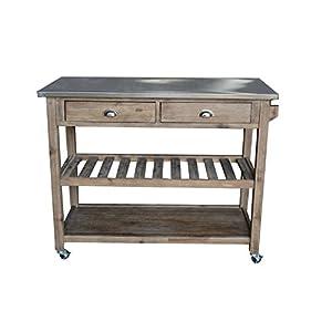 Boraam 98520 Sonoma Wire-Brush Kitchen Cart
