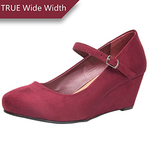 Wide Width Mary Jane Wedge Shoes for Women w/Ankle Buckle Strap, Plus Size Heel Pump w/Round Closed Toe Rubber Sole Memory Foam Insole, Black, Red, Burgundy (180108 Burgundy,Size 13) (Pumps Sole Suede Rubber)
