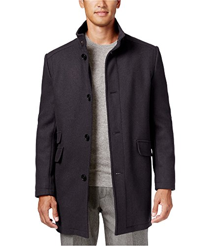 Kenneth Cole Mens Tweed Overcoat Dress Grey S (Tweed Overcoat)