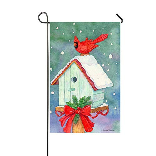 AlexStudio Winter Red Cardinal Stand in The Mailbox 28x40 In