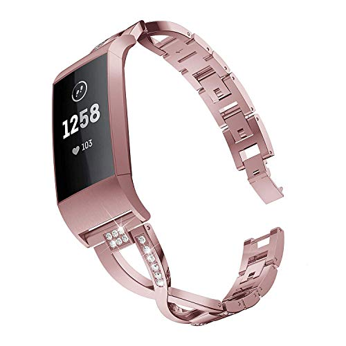 Elobeth Crystal Women Bands Compatible with Fitbit Charge 3 Band Alloy Rhinestone Bracelet Links Quick Open Release Straps Replacement for Fitbit Charge 3/3 SE Watch Band (Rose Pink)