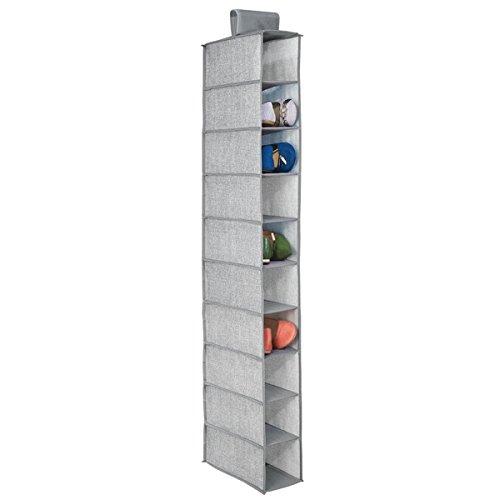 mDesign Fabric Hanging Closet Storage Organizer, for Shoes, Handbags, Clutches - 10 Shelves, Gray -
