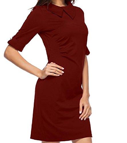 Mezzo Slim Bodycon Manicotto donne Alla Coolred Moda Bavero Del Vestito Vino Fit Solido Rosso UqtUavW