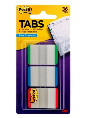 3M (686L-GBRT) Durable Tabs 686L-GBRT, 1 in x 1.5 in Green, Blue, Red 6 pk/ inner [You are purchasing the Min order quantity which is 24 Packs]