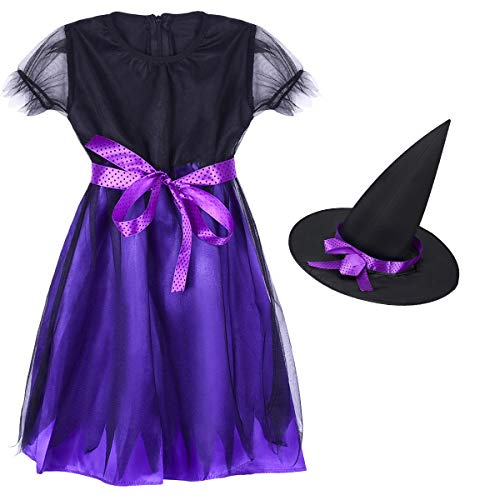 TinTop Witch Outfit Magic Costume Short Dress Pointed Hat Safe Comfortable Abrasion Fashionable Performance Party Girl