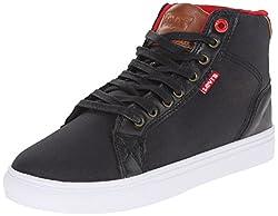 Levis Men's Cliff Canvas Sport Fashion Sneaker, Black/Red, 9.5 M US