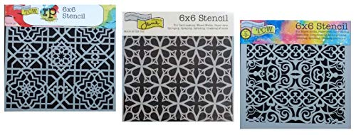 3 Mixed Media Stencil Set for Creating Moroccan, Mexican, Portuguese Tile Designs | 6 Inch x 6 Inch Templates for Arts, Card Making, Journaling, Scrapbooking | by Crafters Workshop (Design Damask Bookmarks)