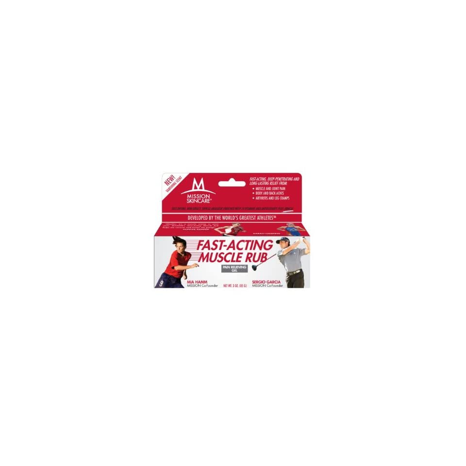 MISSION Skincare Fast Acting Muscle Rub Pain Relieving Gel, 3 Ounce Box