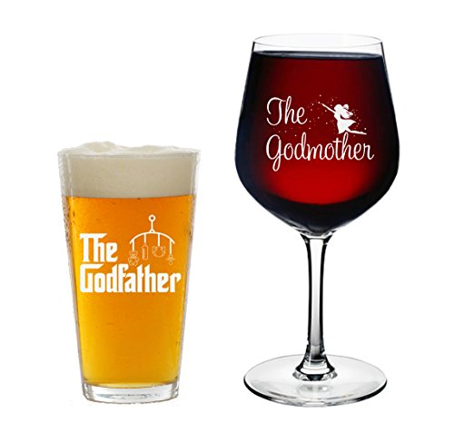 Godparents Announcement- 16 oz. Pint Glass, 12.75 oz. Wine Glass - Cool Present Idea for Godmother, Godfather, and Couples- Baptism or Christening Gift (Set of 2)
