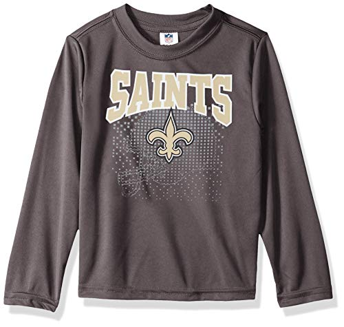 NFL New Orlean Saints Unisex Long-Sleeve Tee, Gray, 4T