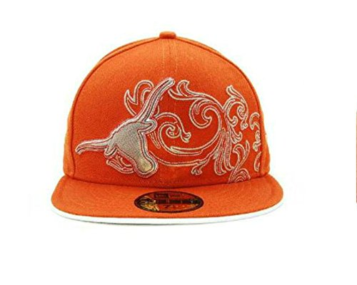New Era Texas Longhorns Fitted Size 7 3/8 NCAA Authentic Fancy Quilt Style Logo Burnt Orange Hat Cap - Gold Sticker - Hat Fitted Texas Cap Longhorns