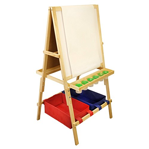(U.S. Art Supply Children's Cardiff Double-Sided Art Activity Easel with Chalkboard, Dry Erase Board, Paper Roll, 6 No-Spill Cups, 2 Storage Bins, 2 Trays - Kids Learn to Paint, Draw, Write, Have Fun)