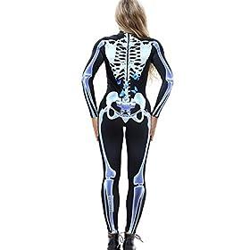 - 41Gm6YUCaRL - Idgreatim Women Halloween Cosplay Costume 3D Print Long Sleeve Skinny Skeleton Catsuit Jumpsuit Bodysuit