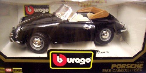 Burago 3031 1961 Porsche 356B Cabriolet - Black Convertible - Diecast - 1:18 Scale ()