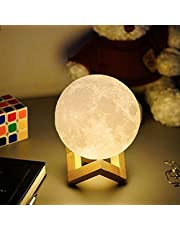 Moon Lamp, Dimmable, 3.5 inch Rechargeable Lunar Night Light with Stand & Remote&Touch Control and Adjustable Brightness Moon Light Lamps for Kid Lover Birthday Day Gift
