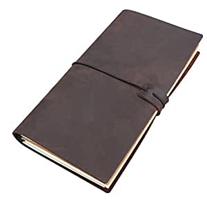 Handmade Travelers Notebook - Refillable Leather Travel Journal Writing Diary,3 Inserts,192 Pages,Standard 8.5 x 4.5 in, Coffee Brown