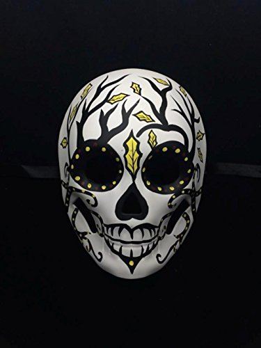 Day of the Dead Masquerade Mask - Dia De Los Muertos White w/ Black Branches and Yellow Leaf Halloween Mask