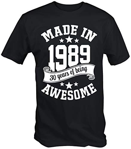 6TN Men's Made in 1989 30 Years of Being Awesome 30th Birthday T Shirt (X-Large, Black)