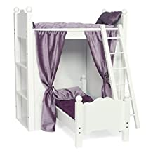 Fits American Girl Doll Loft Bunk Bed Furniture with Shelves & Storage | 18 Inch Dolls | Includes Quilted Bedding, Mattresses & Ladder by Emily Rose Doll Clothes