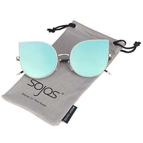 SOJOS Cat Eye Mirrored Flat Lenses Ultra Thin Light Metal Frame Women Sunglasses SJ1022 with Silver Frame/Blue Mirrored Lens