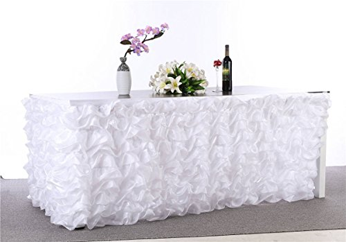 "Abwin Handmade Deluxe Elegant Tulle Table Skirt for Party Decoration,Birthdays, Wedding and Home Decor, 9F Long by 29"" High (White)"