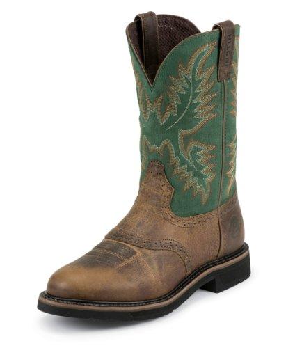 Justin Original Work Boots Men's Stampede Work Boot,Rugged Tan/Blade Green,9 EE US