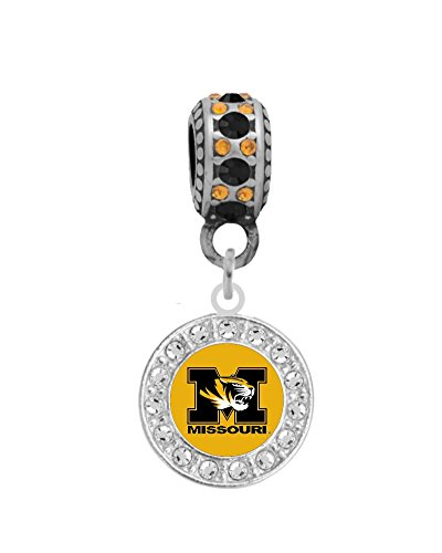 University Charm - Final Touch Gifts Missouri University Crystal Logo Charm Fits Most Bracelet Lines Including Pandora, Chamilia, Troll, Biagi, Zable, Kera, Personality, Reflections, Silverado and More