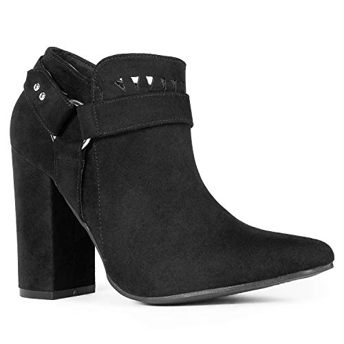 RF ROOM OF FASHION Lady's Pointed Toe Wrapped Chunky Heel Dress Ankle Booties Pumps Black - Bootie Pump