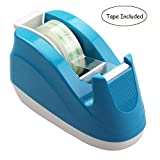 Bolbove Weighted Base, Nonskid Pad Desktop Tape Dispenser for One-Hand Dispensing 1-inch Core with 1 Roll of Tape (Blue)