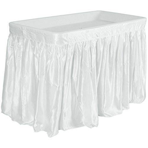 theoneshop66 New 4 Foot Party Ice Cooler Folding Table Plastic with Matching Skirt White from theoneshop66