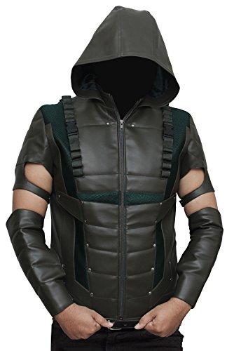 Green Arrow Hoodie Costume (Green Arrow Hoodie Mens Leather Full Costume M)