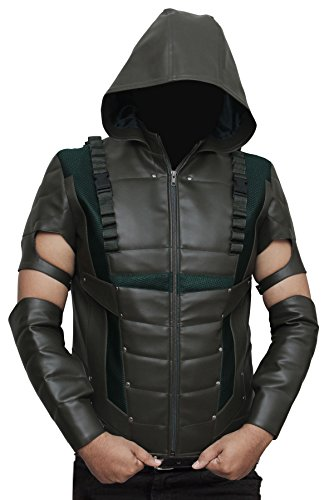[Green Arrow Hoodie Leather Full Costume 3XL] (Green Arrow Hoodie Costume)