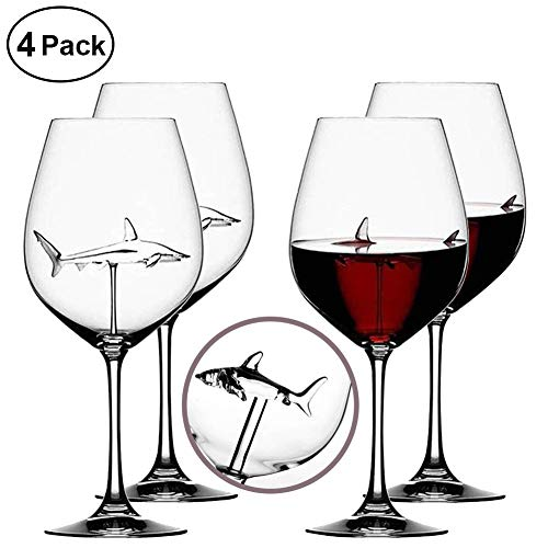 Italian Red Wine Glasses – Shark Glasses with Shark Inside for Adults,Creative Goblet Glass,Lead-Free Crystal Clear Glass,High-end Flutes Glass Perfect for Homes/Bars/Party (Shark 4pcs)